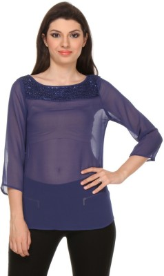 Oyshi Lounge Wear Full Sleeve Embellished Women's Dark Blue Top