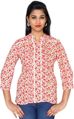 Clodentity Casual 3/4 Sleeve Floral Print Women's Red Top