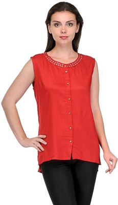 Shopcartz Casual, Party, Festive Sleeveless Solid Women's Red Top