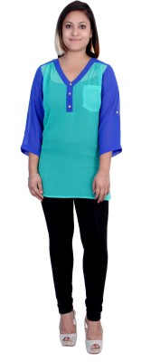 Indicot Casual, Formal, Party 3/4 Sleeve Solid Women's Blue Top