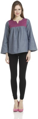 James Scot Formal, Party, Lounge Wear Full Sleeve Solid Women's Grey Top