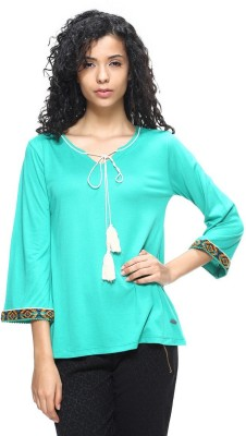 HANGNHOLD Casual 3/4 Sleeve Solid Women's Light Green Top