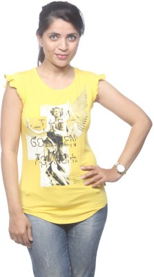 Spykar Casual Short Sleeve Printed Women's Yellow Top