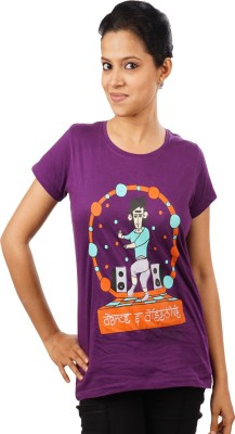 Indophile - Natural Fashion Casual Short Sleeve Printed Women's Purple Top