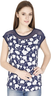 FASHMODE Casual Short Sleeve Floral Print Women's Blue Top
