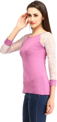 Cottinfab Casual 3/4th Sleeve Solid Women's Pink Top at flipkart