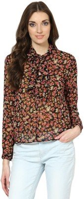 Prakum Casual Full Sleeve Floral Print Women,s Black Top
