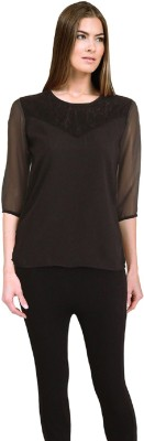 Lady Stark Casual 3/4 Sleeve Solid Women's Black Top