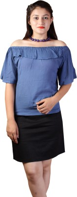Paris Plush Casual Butterfly Sleeve Solid Women's Blue Top