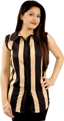 Natty India Casual Sleeveless Striped Women's Beige, Black Top
