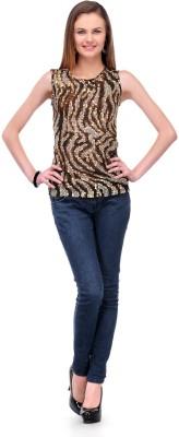 1OAK Casual Sleeveless Embellished Women's Brown Top