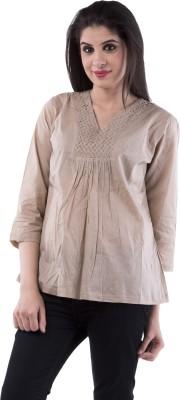 Aarr Casual 3/4 Sleeve Solid Women's Beige Top