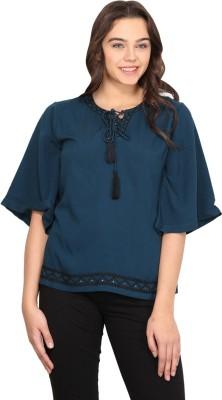 Nordic Bazaar Casual 3/4 Sleeve Solid Women's Blue Top