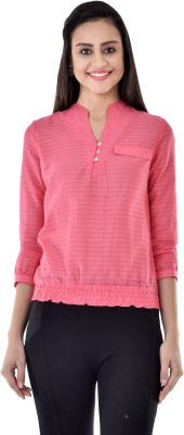 Colors Couture Casual 3/4 Sleeve Solid Women's Pink Top