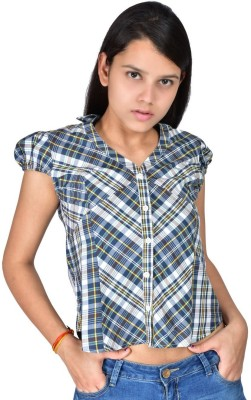 Palette Casual Short Sleeve Checkered Women's Blue Top