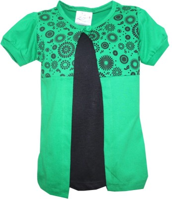 Kidsmasthi Casual Puff Sleeve Solid Girl's Green Top