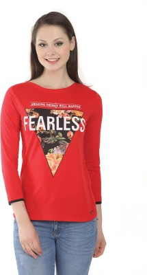 Miss Grace Casual 3/4 Sleeve Printed Women's Red Top
