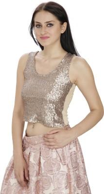 FASHMODE Casual Sleeveless Embellished Women's Gold Top