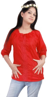 Naughty Bear Casual 3/4 Sleeve Solid Women,s Red Top