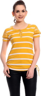 Rose Taylor Casual Short Sleeve Striped Women's Yellow Top