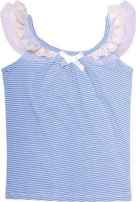 Always Kids Casual, Festive, Party Sleeveless Striped Girl's Blue Top