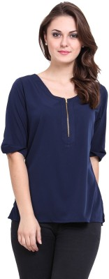 Modattire Casual Short Sleeve Solid Women,s Blue Top