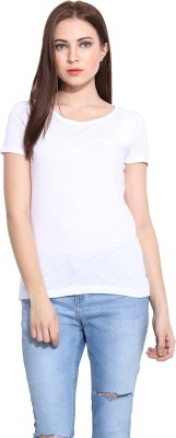 Hook & Eye Casual Short Sleeve Solid Women's White Top
