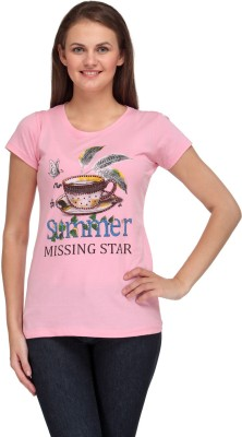 A A Store Casual Short Sleeve Solid, Printed Women's Pink Top