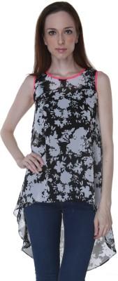 Rigoglioso Casual Sleeveless Floral Print Women's Black, White Top