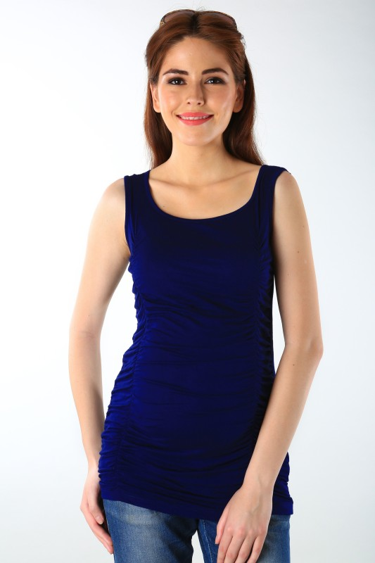 Momzjoy Casual Sleeveless Solid Women's Blue Top