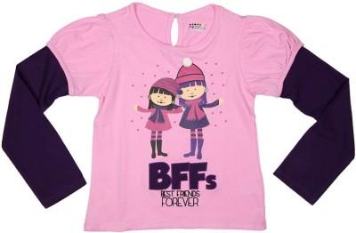People Casual Full Sleeve Printed Girl's Pink Top