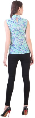 Vvine Party, Casual Sleeveless Printed Women's Blue Top