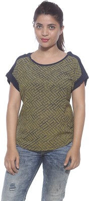 Pepe Casual Short Sleeve Graphic Print Women's Gold Top