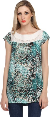 Cottinfab Casual Cap Sleeve Printed Women's Green, Multicolor Top at flipkart