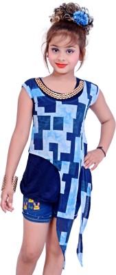Blinkin Casual Sleeveless Printed Girl's Blue Top
