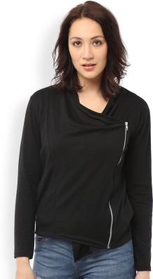 Ten on Ten Casual Full Sleeve Solid Women's Black Top