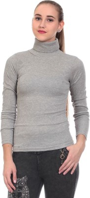 Claude 9 Casual Full Sleeve Solid Girl's Grey Top