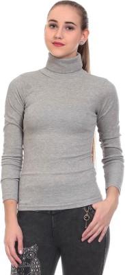 Saiints Casual Full Sleeve Solid Women's Grey Top