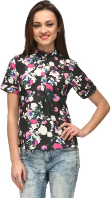 Vemero Clothings Party Short Sleeve Floral Print Women's Multicolor Top