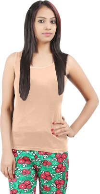 Softwear Casual Sleeveless Solid Women's Beige Top