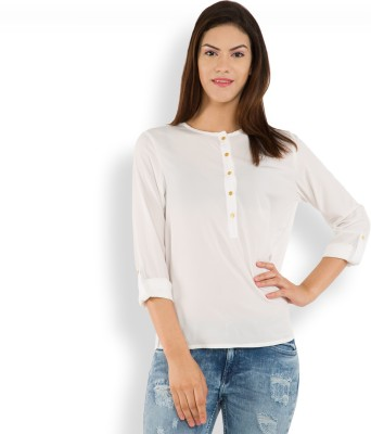 Tokyo Talkies Casual Full Sleeve Solid Women's White Top