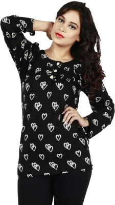Fashionable Casual 3/4 Sleeve Printed Women,s Black Top