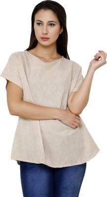 Dhrohar Formal Short Sleeve Solid Women,s Beige Top
