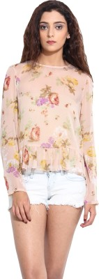 Pera Doce Casual Full Sleeve Printed Women,s Pink Top