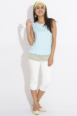 IDK Casual Sleeveless Solid Women's Light Blue, Green Top