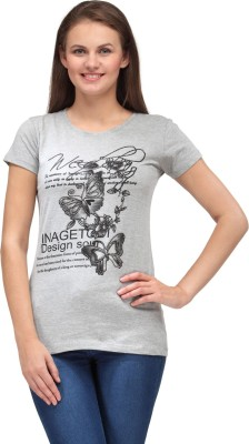 A A Store Casual Short Sleeve Solid, Printed Women's Grey Top
