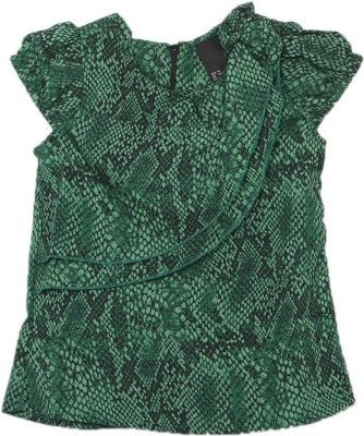 Kemrich Casual Short Sleeve Graphic Print Baby Girl's Green Top