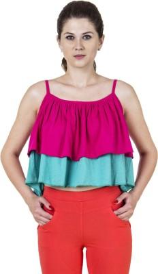 Jprana Casual Sleeveless Solid Women's Pink, Blue Top