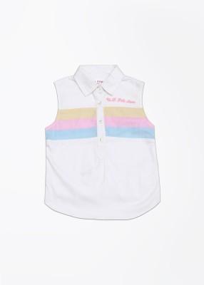 U.S. Polo Assn. Casual Sleeveless Striped Girl's White Top