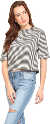 Blue Sequin Casual 3/4 Sleeve Striped Women's Beige, Grey Top
